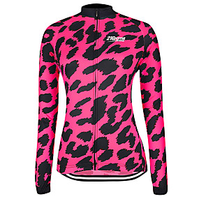 cheap Cycling & Motorcycling-21Grams Women's Long Sleeve Cycling Jersey Winter Spandex Polyester Black / Orange Purple Red Leopard Bike Jersey Top Mountain Bike MTB Road Bike Cycling Thermal Warm Anatomic Design Quick Dry Sports