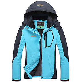 cheap Camping, Hiking & Backpacking-Women's Hiking Jacket Hoodie Jacket Ski Jacket Autumn / Fall Winter Spring Outdoor Patchwork Thermal Warm Thermal Waterproof Windproof Jacket Top Hunting Fishing Climbing Black Red Fuchsia