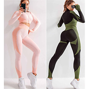 cheap Running & Jogging-Women's 2 Piece Seamless Activewear Set Yoga Suit Compression Suit Athletic 2pcs Long Sleeve High Waist Nylon Quick Dry Breathable Soft Fitness Gym Workout Running Active Training Jogging Sportswear