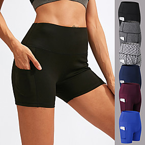 cheap Yoga & Fitness-Women's High Waist Yoga Shorts Side Pockets Shorts Tummy Control Butt Lift Breathable Solid Color Black Burgundy Blue Spandex Fitness Gym Workout Running Summer Sports Activewear High Elasticity