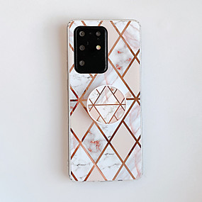 cheap Samsung Case-Case For Samsung Galaxy A70 A70S A90 5G Note 20 S20 S20 Plus S20 Ultra with Stand Plating Pattern Back Cover Marble TPU