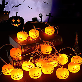 cheap LED String Lights-Halloween String Lights Pumpkin Shaped LED String Lights 1.5M 4.9ft 10LEDs Battery Operation Halloween Carnival Garden Party Decoration Light