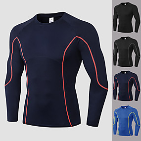cheap Yoga & Fitness-YUERLIAN Men's Long Sleeve Compression Shirt Running Shirt Patchwork Tee Tshirt Top Athletic Athleisure Winter Spandex Quick Dry Breathable Soft Fitness Gym Workout Performance Running Training