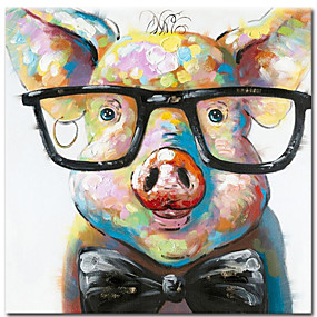 cheap Abstract Paintings-100% Hand painted Canvas Painting Abstract Animal Pig Oil Painting Wall Pictures for Living Room Cuadros Home Decor Rolled Without Frame