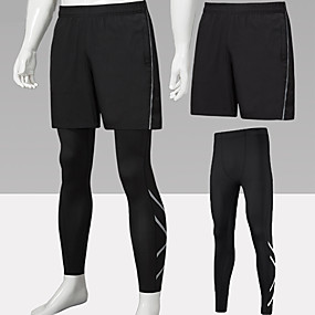 cheap Running & Jogging-Men's Running Shorts With Tights 2pcs Bottoms 2 in 1 Reflective Strip Spandex Winter Fitness Gym Workout Performance Running Training Reflective Breathable Quick Dry Sport Dark Grey Black Black Combo
