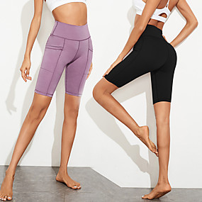 cheap Yoga & Fitness-Women's High Waist Yoga Shorts Side Pockets Shorts Bottoms Tummy Control Butt Lift Breathable Black Purple Spandex Yoga Fitness Gym Workout Sports Activewear Stretchy / Quick Dry