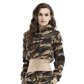 cheap Athleisure Wear-Women's Hoodie Crop Top Fashion Hoodie Color Block Cute Sport Athleisure Hoodie Long Sleeve Comfortable Everyday Use Casual Daily / Winter