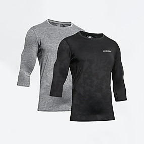 cheap Running & Jogging-UABRAV Men's Running Shirt Tee Tshirt Top Athleisure Quick Dry Breathable Sweat wicking Gym Workout Performance Running Jogging Training Sportswear Solid Colored White Black Grey Activewear