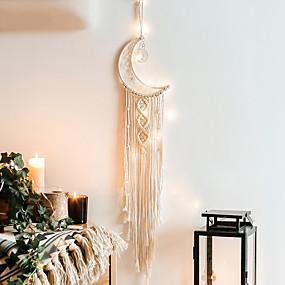 cheap Dreamcatcher-Hand Woven Macrame Dreamcatcher Bohemian Boho Art Decor Hanging Home Bedroom Living Room Decoration Nordic Handmade Tassel Cotton Moon