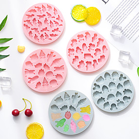 cheap Cookie Tools-Round Pet Rice Cake Mold Children's Food Supplement Making Mold Cake Chocolate Fudge 3d Silicone Mold Ice Mold Steamable Baking Tool Random Colors