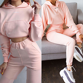 cheap Running & Jogging-Women's 2 Piece Cropped Tracksuit Sweatsuit Street Casual 2pcs Long Sleeve Spandex Moisture Wicking Breathable Soft Fitness Gym Workout Performance Running Training Sportswear Solid Colored Hoodie