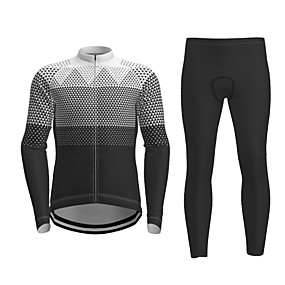 cheap Cycling & Motorcycling-21Grams Men's Long Sleeve Cycling Jersey with Tights Winter Polyester Black / Yellow Red Blue Novelty Bike Jersey Tights Clothing Suit Quick Dry Breathable Back Pocket Sports Patterned Mountain Bike