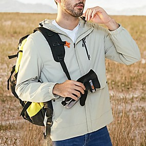 cheap Camping, Hiking & Backpacking-Men's Hiking Windbreaker Autumn / Fall Winter Spring Outdoor Solid Color Thermal Warm Windproof Warm Breathable Jacket Full Length Hidden Zipper Fishing Climbing Camping / Hiking / Caving White Black