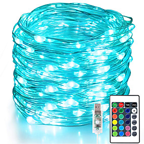 USB Powered-Fairy Lights 100 LED 33 FT Christmas Lights USB Plug 16 Colors Changing Silver Wire Firefly Lights with IR24 Key Remote Control for Indoor Party Halloween Christmas