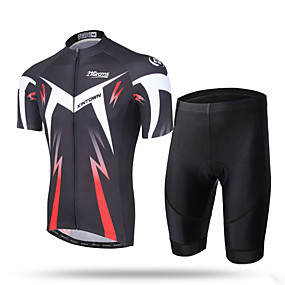 cheap Cycling & Motorcycling-21Grams Men's Short Sleeve Cycling Jersey with Shorts Summer Coolmax® Mesh Spandex Green and Black Black / Red Novelty Bike Shorts Pants / Trousers Jersey 3D Pad Ultraviolet Resistant Quick Dry