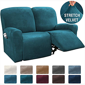 cheap Slipcovers-1 Set of 6 Pieces Easy-Going Microfiber Stretch Sectional Recliner Sofa Slipcover, High Elastic High Quality Velvet Sofa Cover Sofa Slipcover for 2 Seats Cushion Recliner Sofa Furniture Protector