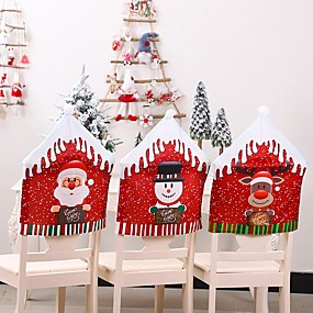 cheap Slipcovers-Christmas Chair Covers Set of 2, Santa Chair Back Suit Slipcovers for Home Kitchen Dining Room Holiday Party Décor
