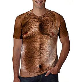cheap Athleisure Wear-Men's Tee T shirt 3D Print Graphic Orangutan Plus Size Fashion 3D Short Sleeve Daily Tops Funny Round Neck Camel / Summer
