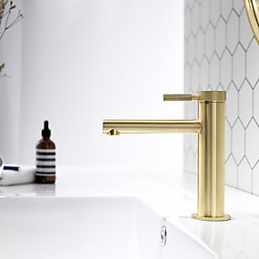 cheap Faucets/Shower System/Kitchen Tap-Bathroom Sink Faucet - Chrome / Brushed Gold / Black Or White Painted Finishes Centerset Single Handle One Hole Bath Mixer Taps Deck Mounted Vessel Vanity Basin Faucet