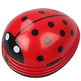 billige Elektrisk støpsel-mini bærbare, håndholdte, trådløse bordplaten smuldre feieren stasjonær støvsuger søt bille marihøna batteridrevet (rød)
