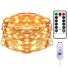 cheap LED String Lights-10M 100LED Copper Wire String Lights Outdoor String Lights USB Plug-in Fairy Lights With Remote 8 Modes Lights Waterproof Remote Control Timer Christmas Wedding Birthday Family Party Room Valentine's