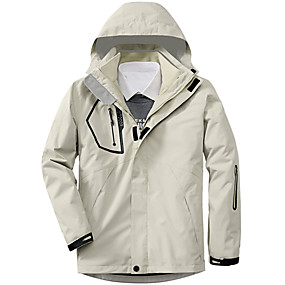 cheap Camping, Hiking & Backpacking-Men's Hiking Jacket Autumn / Fall Winter Spring Outdoor Thermal Warm Windproof Breathable Soft Jacket 3-in-1 Jacket Winter Jacket Camping / Hiking Hunting Climbing White Black Army Green