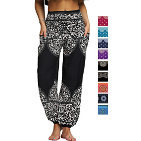 cheap Yoga & Fitness-Women's High Waist Yoga Pants Side Pockets Harem Bloomers Breathable Quick Dry Moisture Wicking Bohemian Hippie Black Purple Red Winter Sports Activewear Stretchy Loose