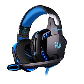 cheap Gaming Headsets-KOTION EACH G2000 Gaming Headset 7.1 Channel Sound Bass Headphones LED Microphone Inline Control Package with Headphone and Mic Adapter for Desktop Computer