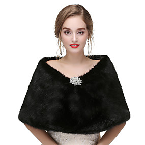 cheap New Arrivals-Sleeveless Shawls Faux Fur Wedding / Party / Evening Women's Wrap With Solid / Crystal Floral Pin