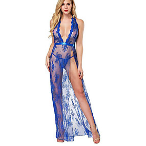 cheap Suits-Women's Lace Backless Mesh Babydoll & Slips Suits Nightwear Jacquard Solid Colored Embroidered White / Black / Red S M L
