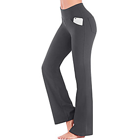 cheap Exercise, Fitness & Yoga-Women's Yoga Pants Bootcut Pocket Tummy Control Butt Lift 4 Way Stretch Black Purple Army Green Yoga Fitness Gym Workout Winter Sports Activewear High Elasticity / Breathable / Quick Dry