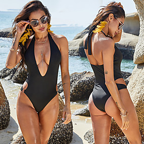 cheap Surfing, Swimming & Diving-Women's One Piece Swimsuit Solid Colored Padded Swimwear Bodysuit Swimwear Black Breathable Quick Dry Comfortable Sleeveless - Swimming Surfing Water Sports Summer / Stretchy / Spandex