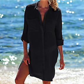 cheap Women-Women's Cover Up Swimsuit Oversized White Black Swimwear Bathing Suits