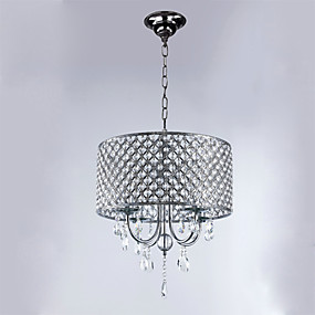 cheap Ceiling Lights & Fans-4-Light 40 cm Crystal Chandelier Metal Drum Electroplated Modern Contemporary 110-120V 220-240V