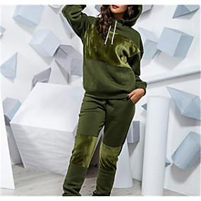 ราคาถูก Women's Tops-สำหรับผู้หญิง สีพื้น ชุดทูพีซ ชุด กางเกง ท็อปส์ / หลวม