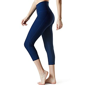 cheap Yoga & Fitness-Women's Yoga Pants Side Pockets Capri Leggings Tummy Control Butt Lift Breathable Black Purple Burgundy Yoga Fitness Gym Workout Sports Activewear Stretchy