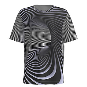 cheap Athleisure Wear-Men's T shirt 3D Print Graphic Abstract Short Sleeve Daily Tops Basic Gray