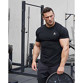 cheap Running & Jogging-Men's Short Sleeve Workout Tops Running Shirt Tee Tshirt Top Athleisure Summer Cotton Breathable Soft Sweat Out Fitness Gym Workout Performance Running Training Sportswear Black Red Army Green Blue