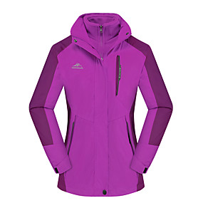 cheap Camping, Hiking & Backpacking-Women's Hiking Jacket Autumn / Fall Winter Spring Outdoor Thermal Warm Windproof Breathable Soft Jacket 3-in-1 Jacket Winter Jacket Camping / Hiking Hunting Climbing Violet Light Green Fuchsia