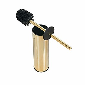 cheap Bathroom Gadgets-solid stainless steel toilet bowl brush and holder- stainless steel 304 handle toilet scrubber (gold)