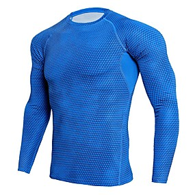 cheap Running & Jogging-Men's Compression Shirt Long Sleeve Compression Base Layer T Shirt Top Plus Size Lightweight Breathable Quick Dry Soft Sweat-wicking Black Red Sky Blue Spandex Winter Road Bike Fitness Mountain Bike