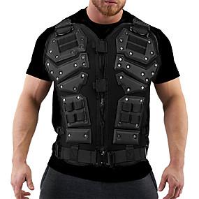 cheap Athleisure Wear-Men's T shirt Graphic Plus Size Print Short Sleeve Club Tops Streetwear Military White Black
