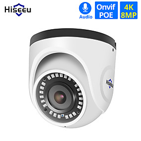 cheap Indoor IP Network Cameras-Hiseeu 4K POE IP Camera Audio Indoor 8MP Network Dome Security CCTV Camera IR H.265 CCTV Video Surveillance Onvif