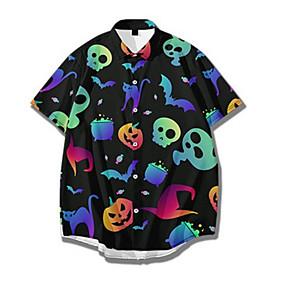 cheap Men's Halloween Shirt-Men's Halloween Shirt Graphic Print Short Sleeve Tops Basic Streetwear Rainbow