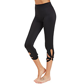 cheap Yoga & Fitness-Women's High Waist Yoga Pants Cut Out Capri Leggings Tummy Control Butt Lift 4 Way Stretch Pink White Black Fitness Gym Workout Running Plus Size Sports Activewear High Elasticity / Quick Dry