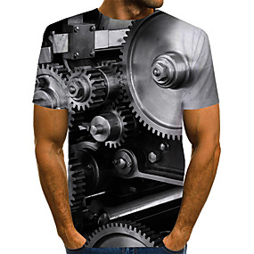 cheap Athleisure Wear-Men's T shirt Shirt Graphic Machine Plus Size Print Short Sleeve Daily Tops Basic Exaggerated Round Neck Gray