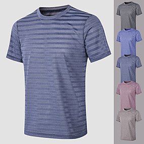 cheap Running & Jogging-YUERLIAN Men's Short Sleeve Running Shirt Tee Tshirt Top Athletic Athleisure Summer Spandex Quick Dry Breathable Soft Fitness Gym Workout Performance Running Training Sportswear Solid Colored