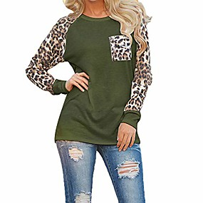 cheap Athleisure Wear-woman casual tops long sleeve leopard print patchwork plus size t-shirt blouses & #40;army green, xxl& #41;