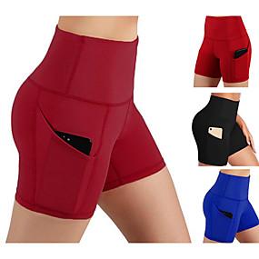 cheap Exercise, Fitness & Yoga-Women's High Waist Yoga Pants Shorts Butt Lift Black Burgundy Blue Fitness Running Sports Activewear Micro-elastic Slim