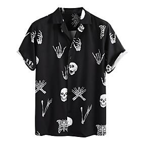 cheap Men's Halloween Shirt-Men's Halloween Shirt Graphic Skull Short Sleeve Tops Vintage Black